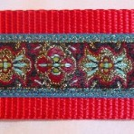 Red and Turquoise Tapestry Martingale Lead #709