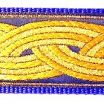 Gold Metallic Bands on Blue Martingale Lead #734