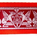 Winged Griffons on Red Martingale Lead #768