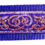 Gold and Silver Beast on Blue Martingale Lead #773
