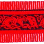 Red Stylized Dog Shapes on Black Martingale Lead #775