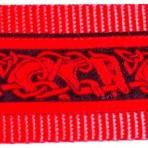 Red Stylized Dog Shapes on Black Martingale Lead #775