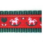 1MC912 White Rocking Horses on Red