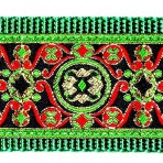 2MC807 Intricate Green and Red Jacquard