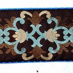 2MC821 Chocolate Brown with Turquoise and Cream Highlights