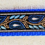 1MC598 Royal Blue and Gold Flowered Martingale Collar