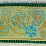 2ML851 Ivory, Gold and Turquoise Brocade Martingale Lead
